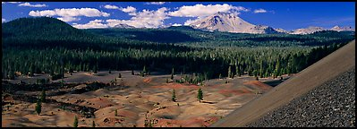 Painted dunes and Lassen Peak from Cinder Cone. Lassen Volcanic National Park (Panoramic color)