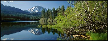 Lassen Peak reflexions in the spring. Lassen Volcanic National Park (Panoramic color)