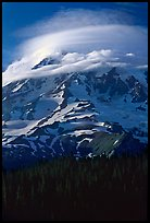 Mt Rainier with lenticular cloud. Mount Rainier National Park ( color)