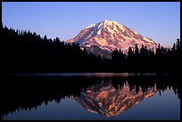 Mt Rainier with perfect reflection in Eunice Lake at sunset. Mount Rainier National Park, Washington, USA.