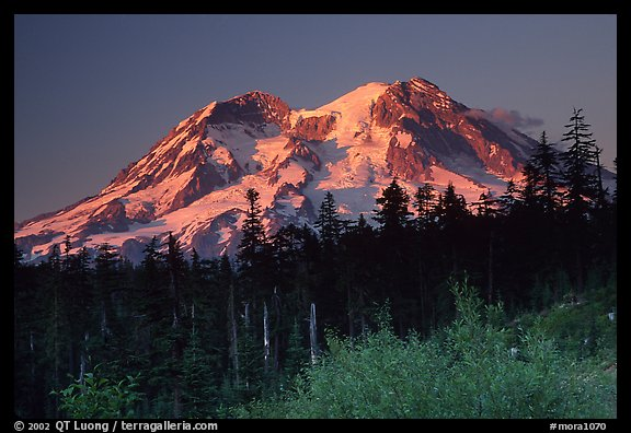Mt Rainier at sunset from  South. Mount Rainier National Park, Washington, USA.