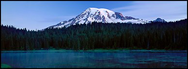 Lake, forest, and Mount Rainer at dawn. Mount Rainier National Park (Panoramic color)