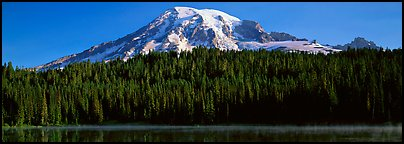 Mount Rainier raising above forest and lake. Mount Rainier National Park (Panoramic color)