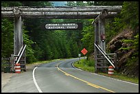 Park entrance gate. Mount Rainier National Park, Washington, USA. (color)