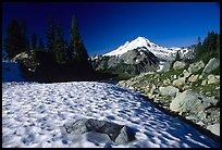 Late summer snow and Mount Baker, early morning. Washington (color)