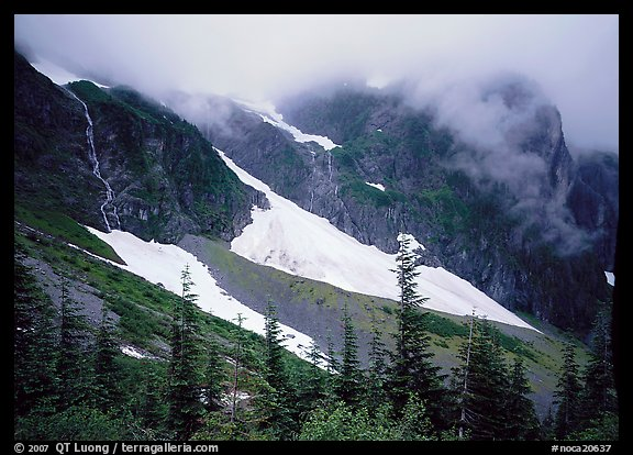 Cascades and snowfields, below Cascade Pass, North Cascades National Park.  (color)