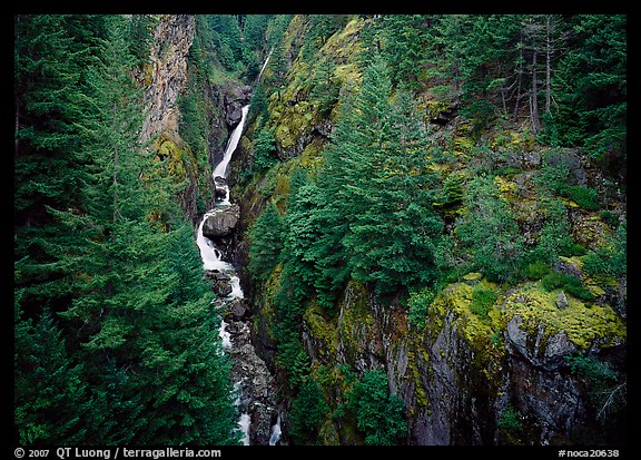 Gorge Creek falls. North Cascades National Park (color)
