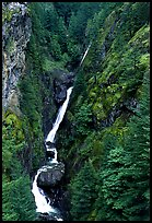Waterfall in narrow gorge,  North Cascades National Park Service Complex. Washington, USA.