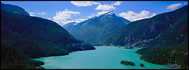 Turquoise colored lake and mountains, North Cascades National Park Service Complex.  (Panoramic color)