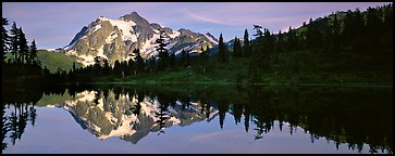 Lake with mountain reflection, North Cascades National Park.  (Panoramic color)
