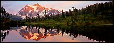 Miror reflection of Mount Shuksan.  (Panoramic color)