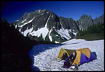 Camping on neve below Sahale Peak, North Cascades National Park.  ( color)
