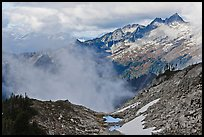 Mountains and clouds above South Fork of Cascade River, North Cascades National Park.  ( color)