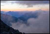 Clouds and ridges at sunset, North Cascades National Park.  ( color)
