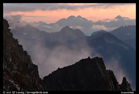 Receding mountain ridges, North Cascades National Park.  (color)