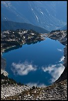 Hidden Lake, with clouds reflected, North Cascades National Park.  ( color)