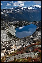 Forbidden, Boston, and Sahale Peak above Hidden Lake, North Cascades National Park.  ( color)