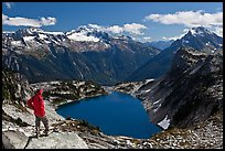 Visitor looking, Hidden Lake, North Cascades National Park.  ( color)
