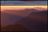 Layered ridges at sunset, North Cascades National Park.  ( color)
