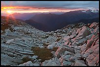 Last rays of sunset color rocks in alpine basin, North Cascades National Park.  ( color)