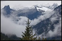 The Picket Range and clouds in rainy weather, North Cascades National Park.  ( color)
