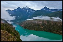 Colonial Peak and Pyramid Peak above Diablo Lake on rainy evening, North Cascades National Park Service Complex.  ( color)