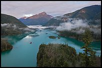 Sunrise, Diablo Lake, North Cascades National Park Service Complex. Washington, USA. (color)