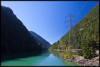 Gorge Lake and power lines,  North Cascades National Park Service Complex. Washington, USA.