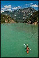 Kayaker on Diablo Lake,  North Cascades National Park Service Complex.  ( color)