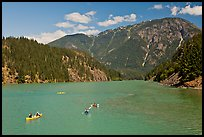 Canoes and kayaks on Diablo Lake,  North Cascades National Park Service Complex.  ( color)