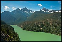 Diablo Lake with green waters, morning,  North Cascades National Park Service Complex. Washington, USA.