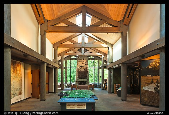 Inside Visitor Center, North Cascades National Park.  (color)