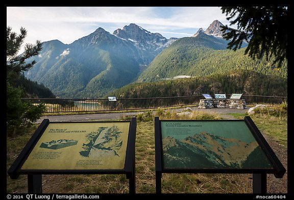 North Cascades Mountains interpretive signs, Lake Diablo overlook, North Cascades National Park Service Complex. Washington, USA.