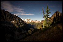 Mount Logan from Easy Pass at night, North Cascades National Park.  ( color)