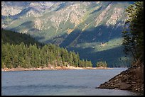Water-level view of Ross Lake, North Cascades National Park Service Complex.  ( color)