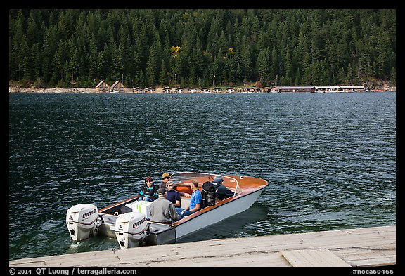 Boat ride across lake to Ross Lake resort, North Cascades National Park Service Complex.  (color)