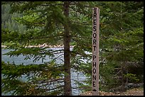 Sign pointing to phone used to call Ross Lake resort, North Cascades National Park Service Complex.  ( color)