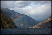 Lake Chelan and rainbow, North Cascades National Park Service Complex. Washington, USA.