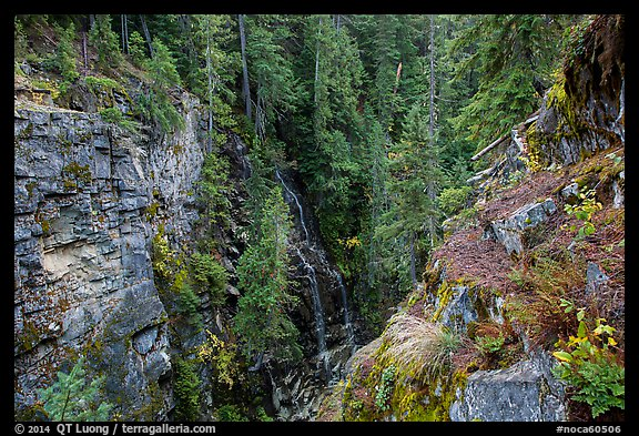Waterfall, Agnes Gorge, Glacier Peak Wilderness.  (color)