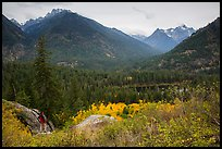 Visitor looking, McGregor Mountain above Coon Lake, North Cascades National Park Service Complex.  ( color)
