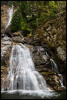 Lower Rainbow Falls, Stehekin, North Cascades National Park Service Complex.  ( color)