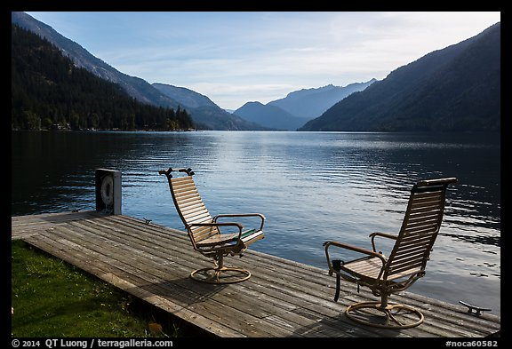 Two chairs and a buoy on deck, Lake Chelan, Stehekin, North Cascades National Park Service Complex.  (color)