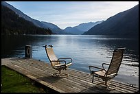 Two chairs and a buoy on deck, Lake Chelan, Stehekin, North Cascades National Park Service Complex. Washington, USA.