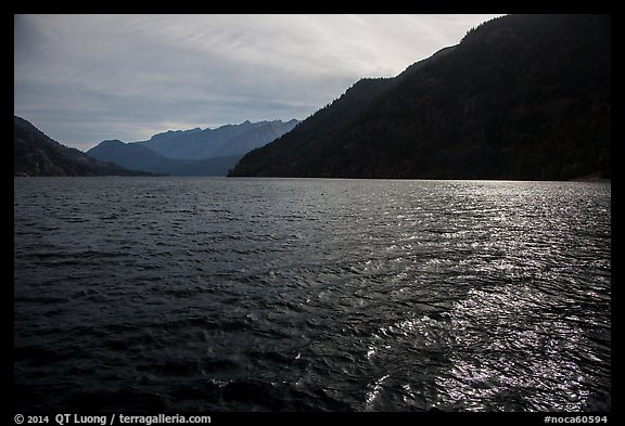 Sun shimmering in Lake Chelan waters, North Cascades National Park Service Complex. Washington, USA.