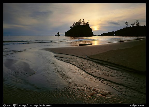 Stream, beach, and sea stacks at sunset, Second Beach. Olympic National Park (color)