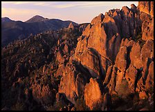 High Peaks with Chalone Peak in the distance, sunrise. Pinnacles National Park, California, USA.