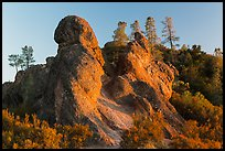 Rock monoliths on top of ridge at sunset. Pinnacles National Park ( color)
