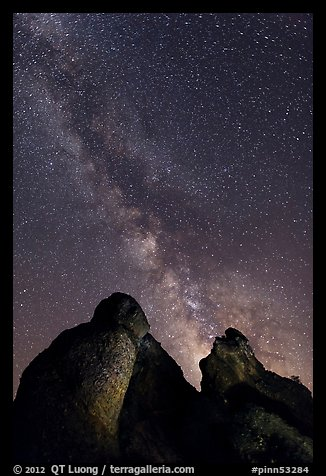 Milky Way and rocky towers. Pinnacles National Park (color)