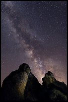 Milky Way and rocky towers. Pinnacles National Park ( color)