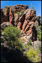 Cliffs of reddish rock. Pinnacles National Park ( color)